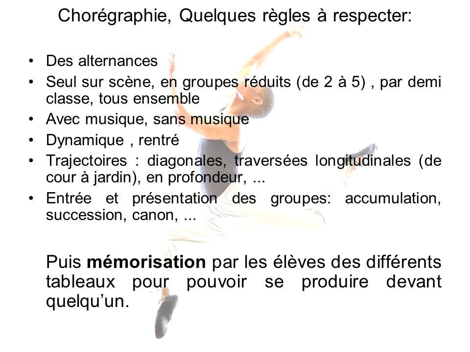 Chorégraphie, Quelques règles à respecter: Des alternances Seul sur scène, en groupes réduits (de 2 à 5), par demi classe, tous ensemble Avec musique,