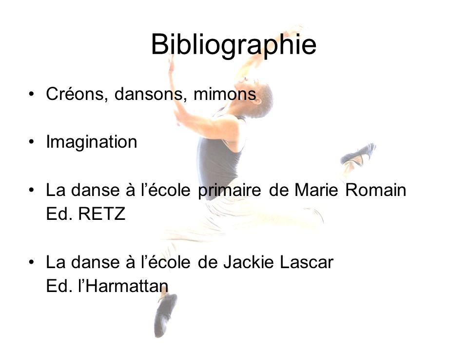 Bibliographie Créons, dansons, mimons Imagination La danse à lécole primaire de Marie Romain Ed. RETZ La danse à lécole de Jackie Lascar Ed. lHarmatta
