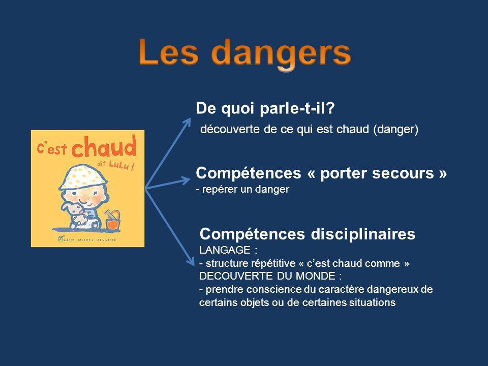 De quoi parle-t-il? découverte de ce qui est chaud (danger) Compétences « porter secours » - repérer un danger Compétences disciplinaires LANGAGE : -