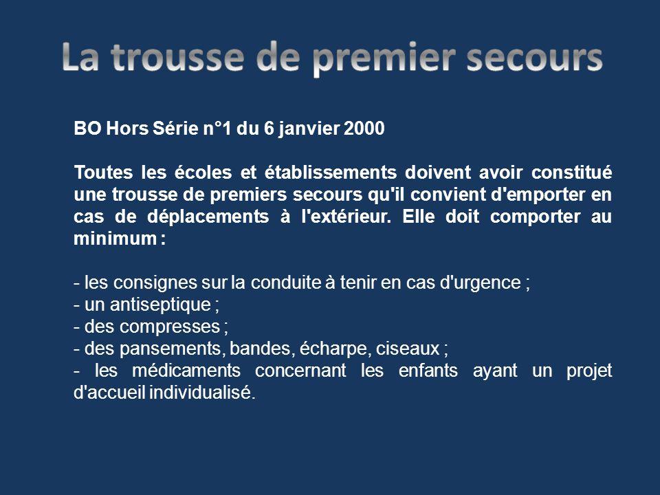 BO Hors Série n°1 du 6 janvier 2000 Toutes les écoles et établissements doivent avoir constitué une trousse de premiers secours qu'il convient d'empor