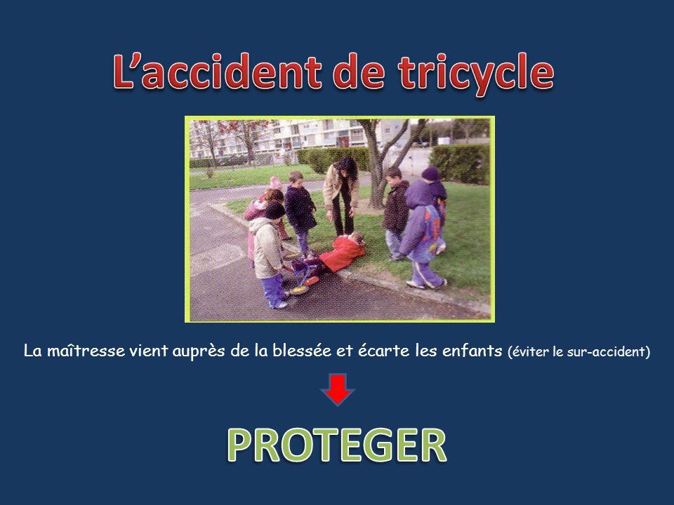 La maîtresse vient auprès de la blessée et écarte les enfants (éviter le sur-accident)