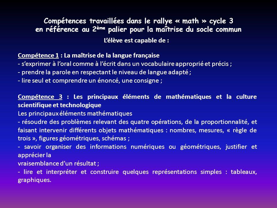 Compétences travaillées dans le rallye « math » cycle 3 en référence au 2 ème palier pour la maîtrise du socle commun Compétence 1 : La maîtrise de la langue française - sexprimer à loral comme à lécrit dans un vocabulaire approprié et précis ; - prendre la parole en respectant le niveau de langue adapté ; - lire seul et comprendre un énoncé, une consigne ; Lélève est capable de : Compétence 3 : Les principaux éléments de mathématiques et la culture scientifique et technologique Les principaux éléments mathématiques - résoudre des problèmes relevant des quatre opérations, de la proportionnalité, et faisant intervenir différents objets mathématiques : nombres, mesures, « règle de trois », figures géométriques, schémas ; - savoir organiser des informations numériques ou géométriques, justifier et apprécier la vraisemblance dun résultat ; - lire et interpréter et construire quelques représentations simples : tableaux, graphiques.
