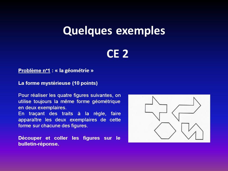 Problème n°1 : « la géométrie » La forme mystérieuse (10 points) Pour réaliser les quatre figures suivantes, on utilise toujours la même forme géométrique en deux exemplaires.