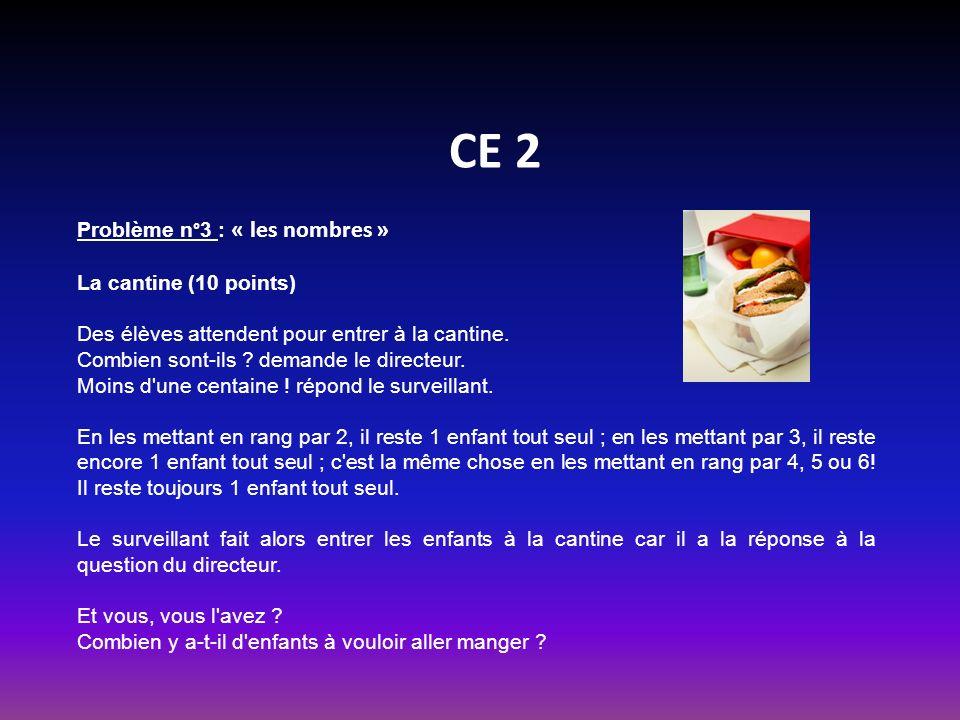 CE 2 Problème n°3 : « les nombres » La cantine (10 points) Des élèves attendent pour entrer à la cantine.