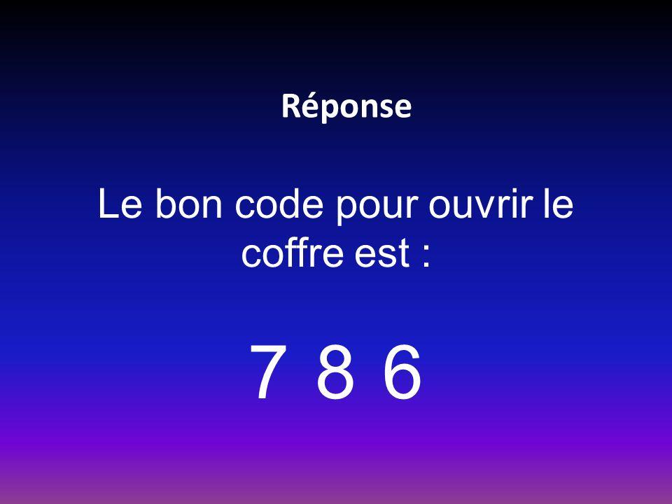 Réponse Le bon code pour ouvrir le coffre est : 786