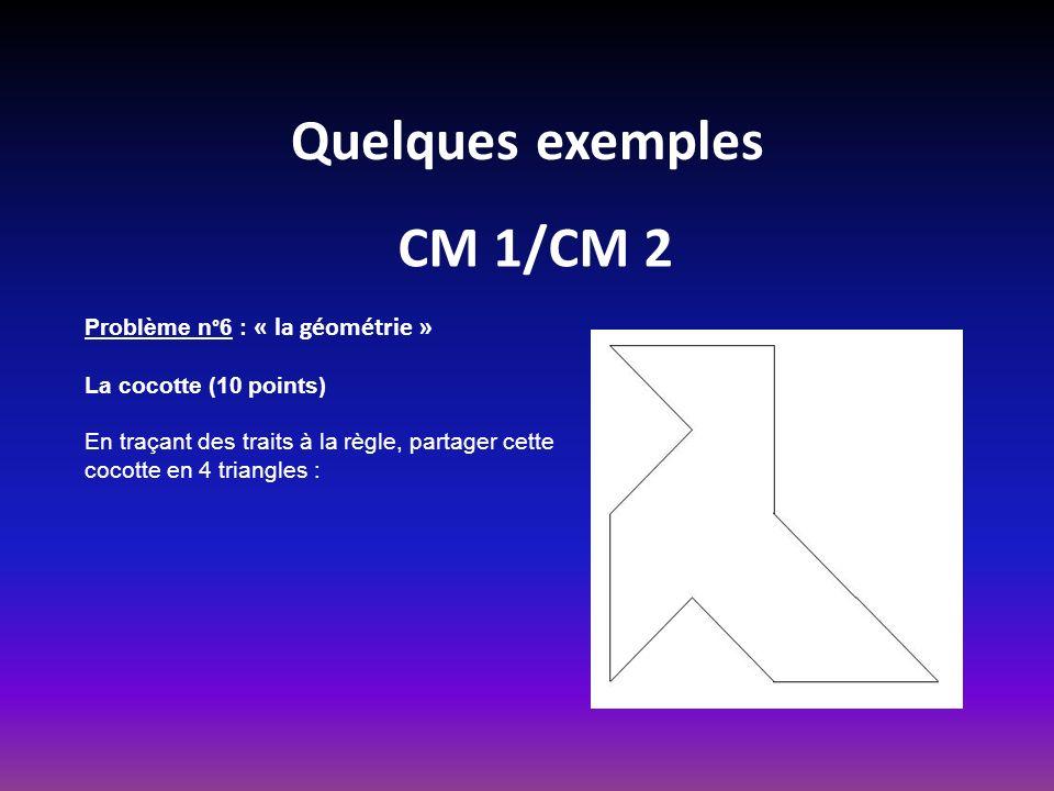 Quelques exemples CM 1/CM 2 Problème n°6 : « la géométrie » La cocotte (10 points) En traçant des traits à la règle, partager cette cocotte en 4 triangles :