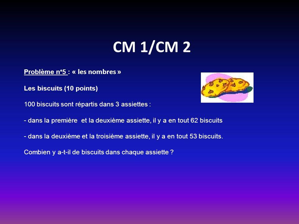 CM 1/CM 2 Problème n°5 : « les nombres » Les biscuits (10 points) 100 biscuits sont répartis dans 3 assiettes : dans la première et la deuxième assiette, il y a en tout 62 biscuits dans la deuxième et la troisième assiette, il y a en tout 53 biscuits.