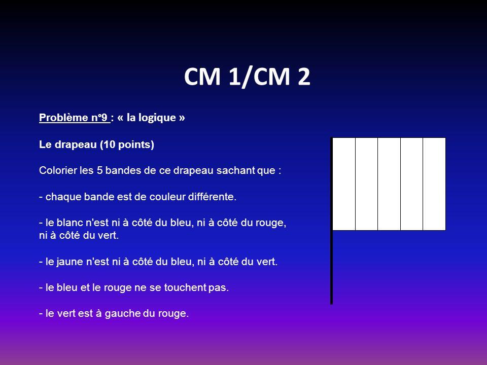 CM 1/CM 2 Problème n°9 : « la logique » Le drapeau (10 points) Colorier les 5 bandes de ce drapeau sachant que : - chaque bande est de couleur différente.