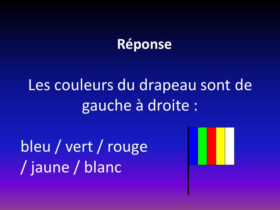 Réponse Les couleurs du drapeau sont de gauche à droite : bleu / vert / rouge / jaune / blanc