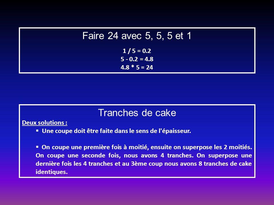 Faire 24 avec 5, 5, 5 et 1 1 / 5 = 0.2 5 - 0.2 = 4.8 4.8 * 5 = 24 Tranches de cake Deux solutions : Une coupe doit être faite dans le sens de l épaisseur.