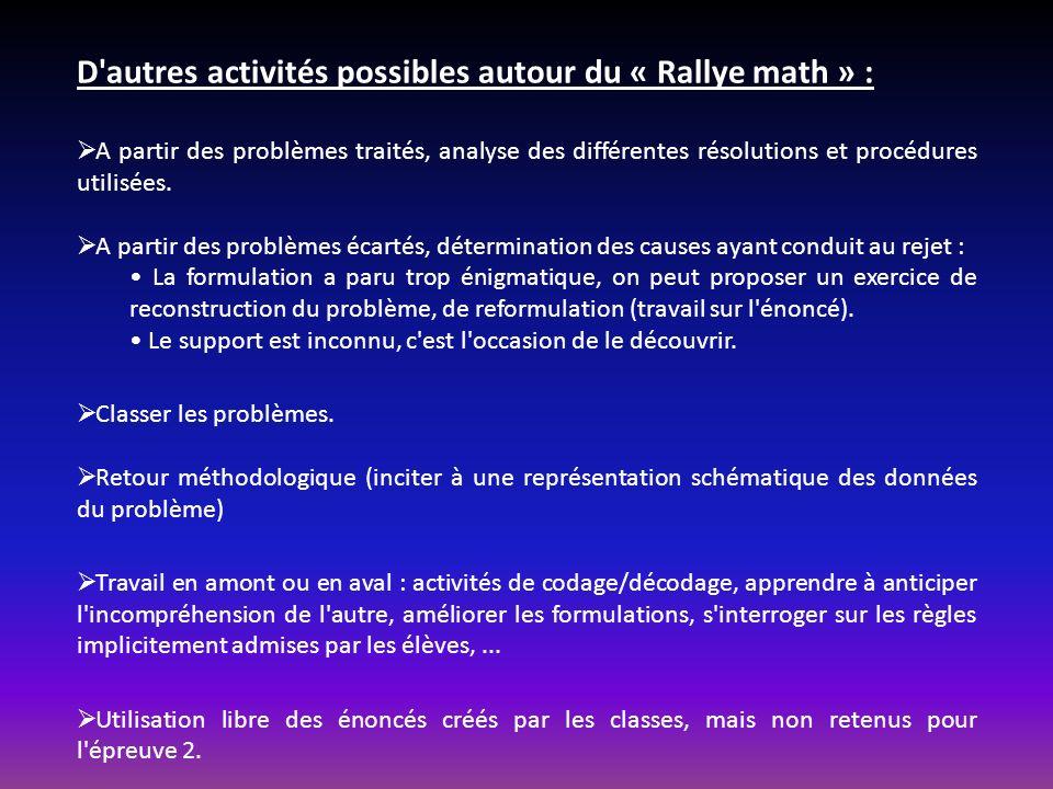 D autres activités possibles autour du « Rallye math » : A partir des problèmes traités, analyse des différentes résolutions et procédures utilisées.
