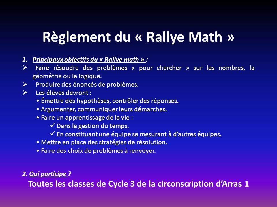 Règlement du « Rallye Math » 1.Principaux objectifs du « Rallye math » : Faire résoudre des problèmes « pour chercher » sur les nombres, la géométrie ou la logique.