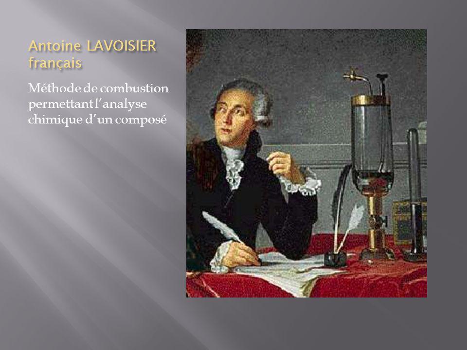 Antoine LAVOISIER français Méthode de combustion permettant lanalyse chimique dun composé