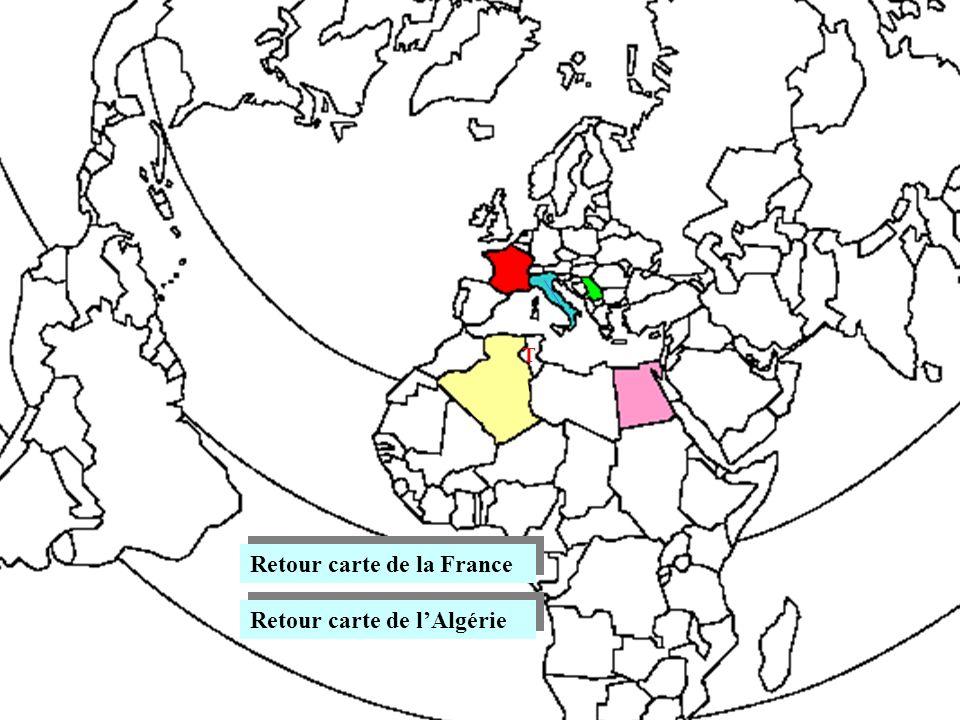 Retour carte de la France Retour carte de lAlgérie T
