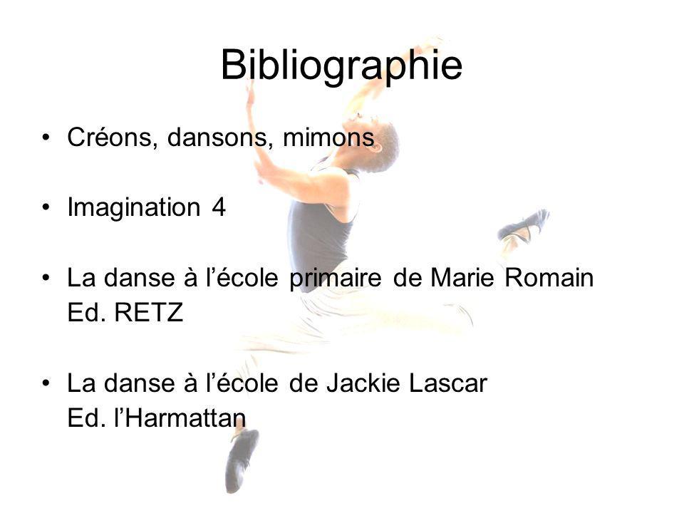 Bibliographie Créons, dansons, mimons Imagination 4 La danse à lécole primaire de Marie Romain Ed. RETZ La danse à lécole de Jackie Lascar Ed. lHarmat