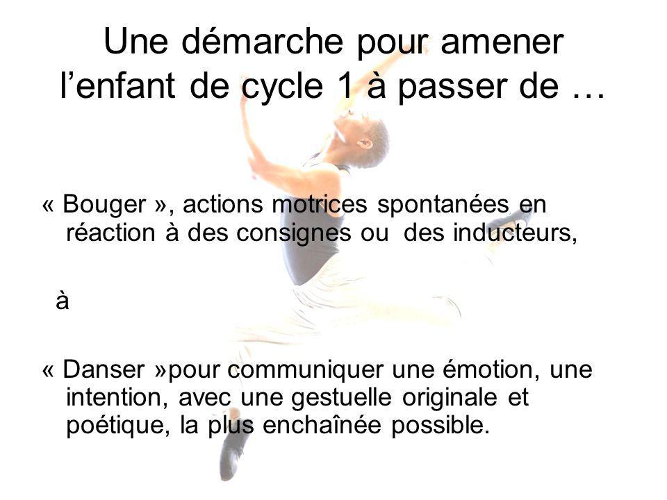 Une démarche pour amener lenfant de cycle 1 à passer de … « Bouger », actions motrices spontanées en réaction à des consignes ou des inducteurs, à « D