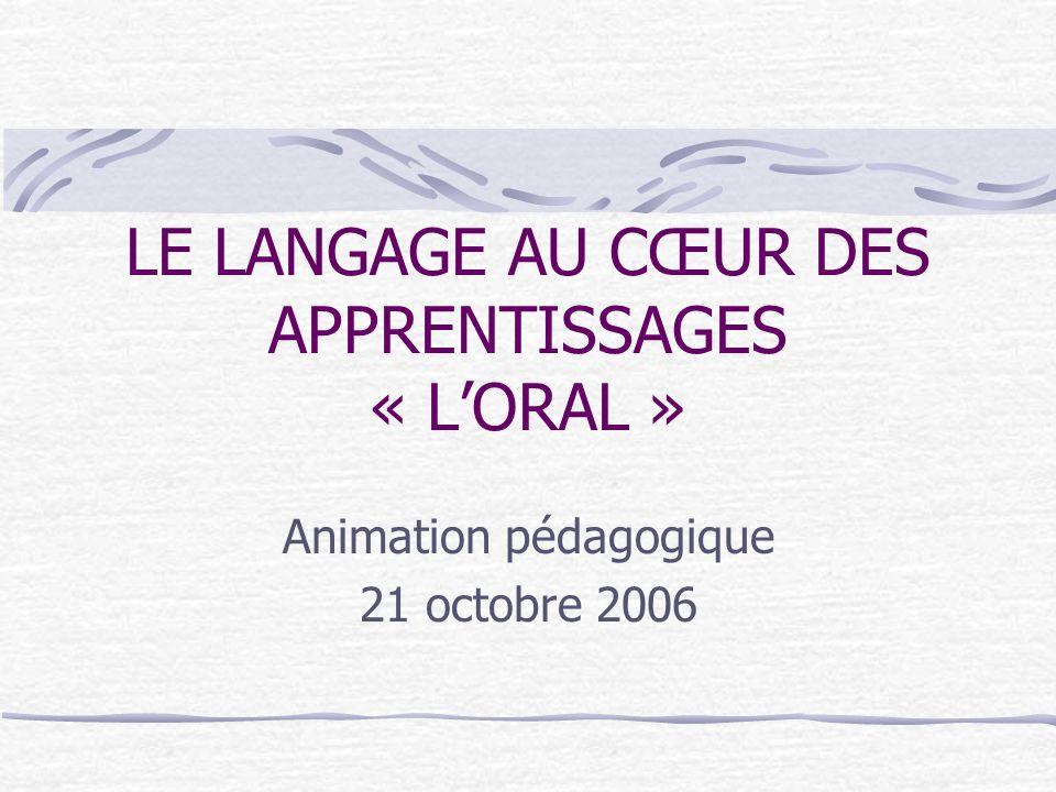 LE LANGAGE AU CŒUR DES APPRENTISSAGES « LORAL » Animation pédagogique 21 octobre 2006
