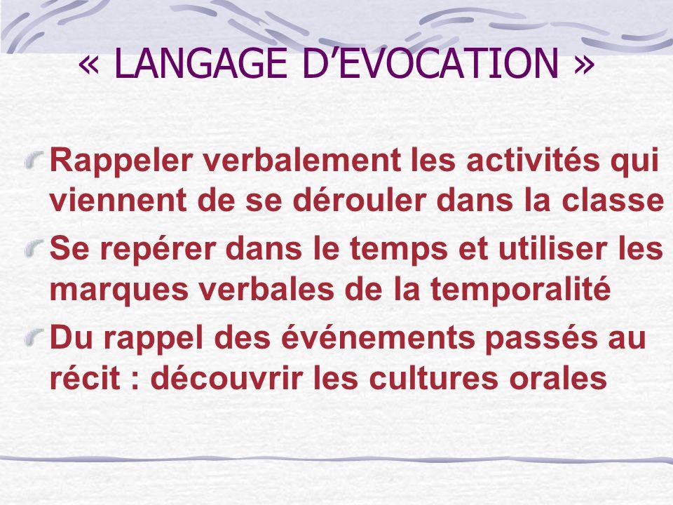 « LANGAGE DEVOCATION » Rappeler verbalement les activités qui viennent de se dérouler dans la classe Se repérer dans le temps et utiliser les marques