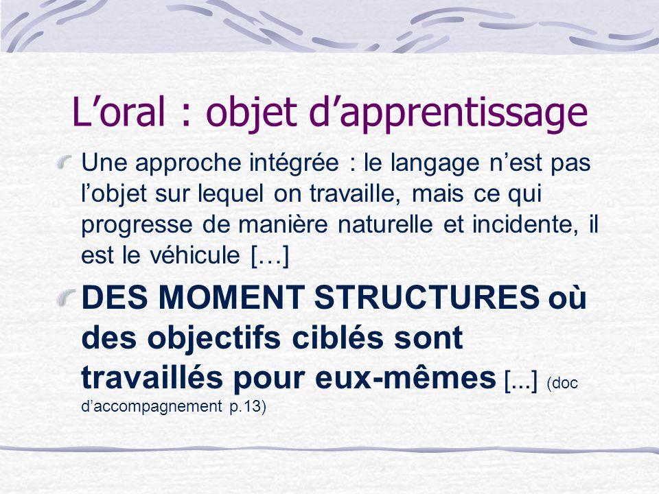 Loral : objet dapprentissage Une approche intégrée : le langage nest pas lobjet sur lequel on travaille, mais ce qui progresse de manière naturelle et