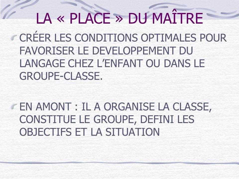 LA « PLACE » DU MAÎTRE CRÉER LES CONDITIONS OPTIMALES POUR FAVORISER LE DEVELOPPEMENT DU LANGAGE CHEZ LENFANT OU DANS LE GROUPE-CLASSE. EN AMONT : IL