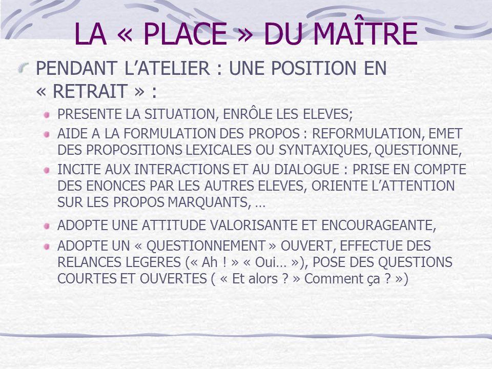 LA « PLACE » DU MAÎTRE PENDANT LATELIER : UNE POSITION EN « RETRAIT » : PRESENTE LA SITUATION, ENRÔLE LES ELEVES; AIDE A LA FORMULATION DES PROPOS : R