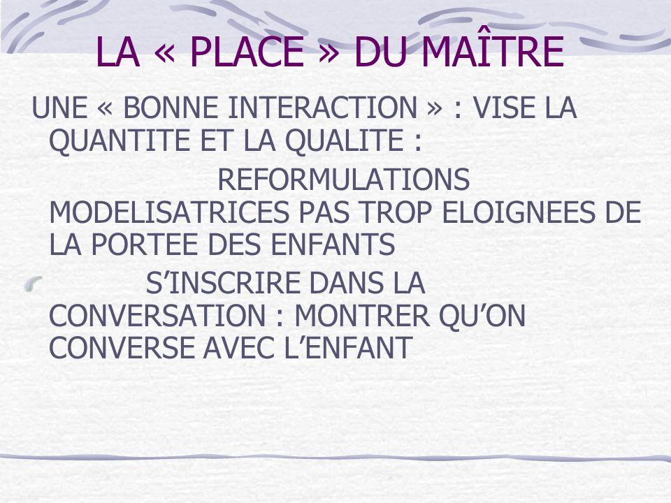 LA « PLACE » DU MAÎTRE UNE « BONNE INTERACTION » : VISE LA QUANTITE ET LA QUALITE : REFORMULATIONS MODELISATRICES PAS TROP ELOIGNEES DE LA PORTEE DES