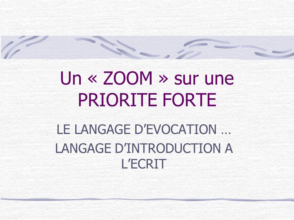 Un « ZOOM » sur une PRIORITE FORTE LE LANGAGE DEVOCATION … LANGAGE DINTRODUCTION A LECRIT