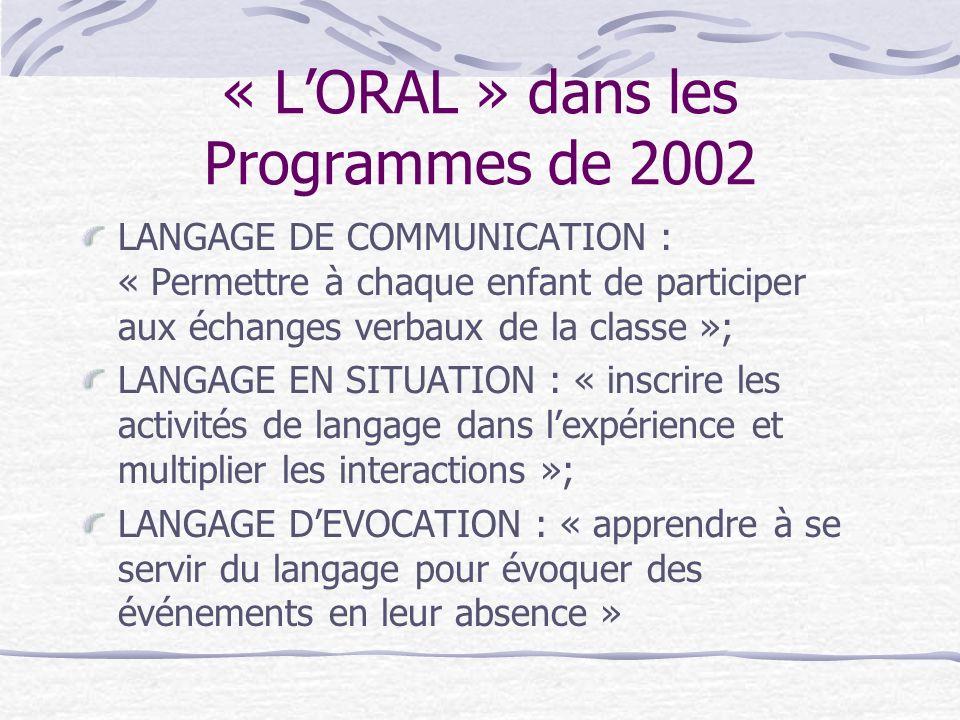 « LORAL » dans les Programmes de 2002 LANGAGE DE COMMUNICATION : « Permettre à chaque enfant de participer aux échanges verbaux de la classe »; LANGAG