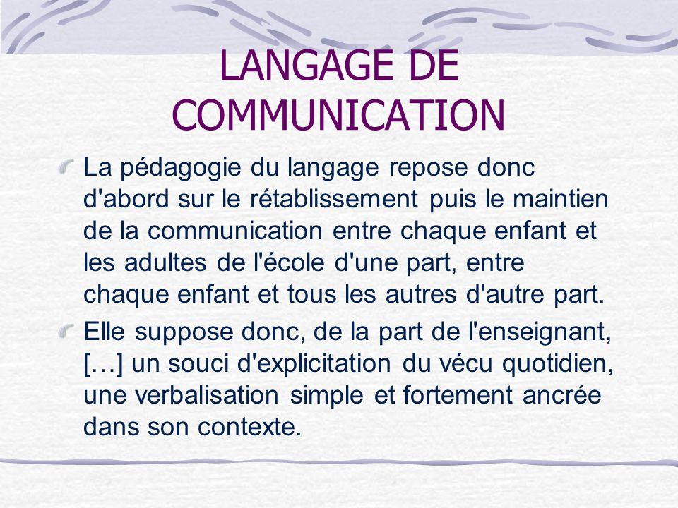 LANGAGE DE COMMUNICATION La pédagogie du langage repose donc d'abord sur le rétablissement puis le maintien de la communication entre chaque enfant et