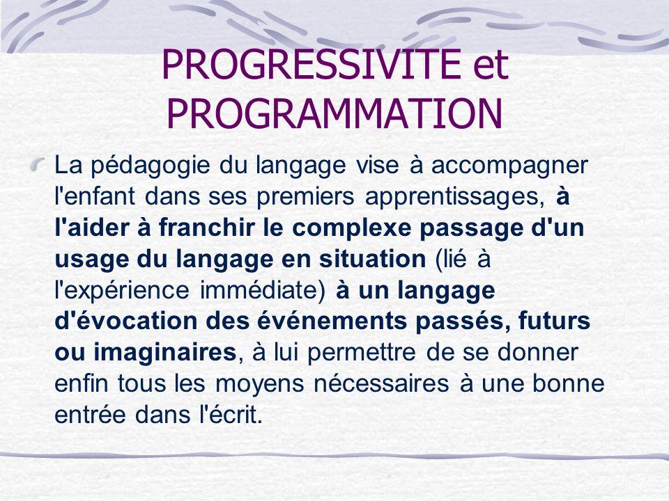 PROGRESSIVITE et PROGRAMMATION La pédagogie du langage vise à accompagner l'enfant dans ses premiers apprentissages, à l'aider à franchir le complexe