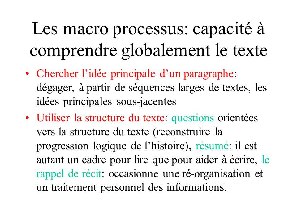 Les processus dintégration: effectuer des liens entre les phrases Les référents: il est important de mener un travail dexplicitation sur les chaînes a