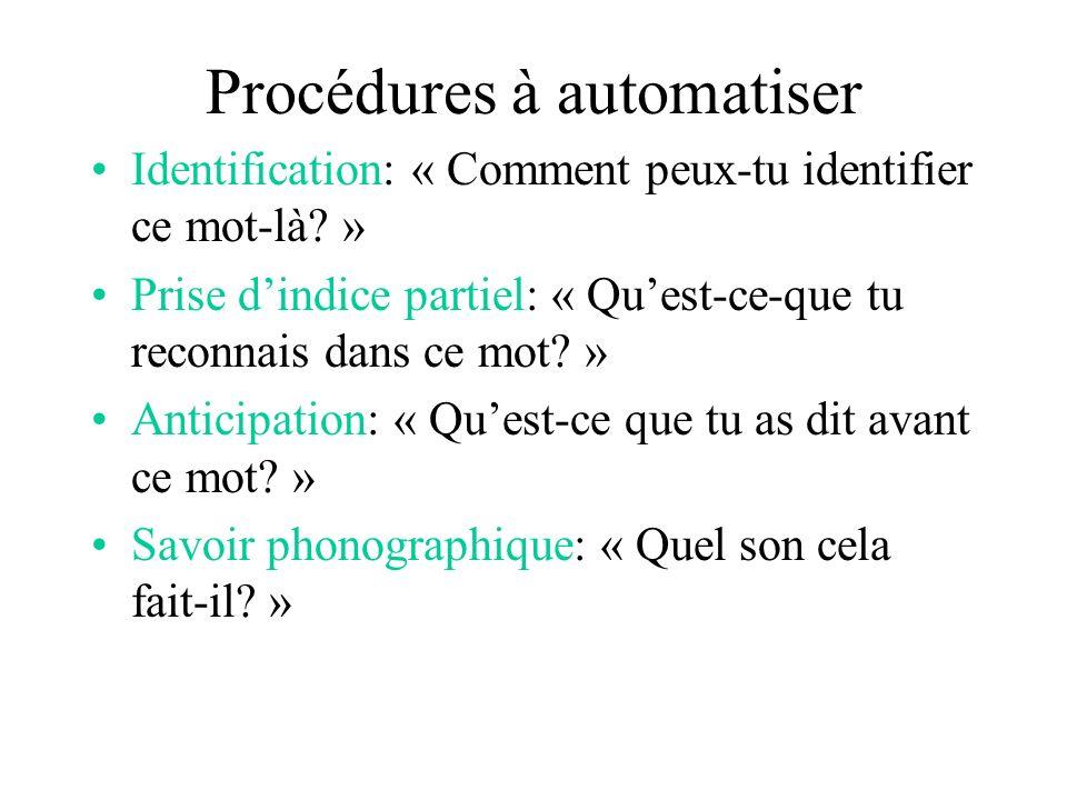 Procédures à automatiser Identification: « Comment peux-tu identifier ce mot-là.
