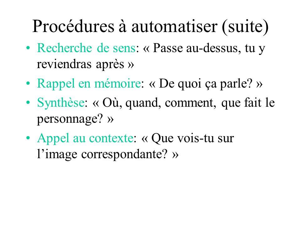 Procédures à automatiser (suite) Recherche de sens: « Passe au-dessus, tu y reviendras après » Rappel en mémoire: « De quoi ça parle.