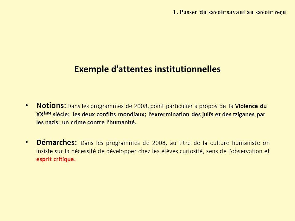 Exemple dattentes institutionnelles Notions: Dans les programmes de 2008, point particulier à propos de la Violence du XX ème siècle: les deux conflit