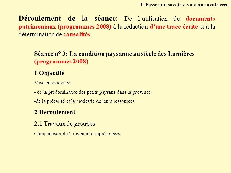 Déroulement de la séance: De lutilisation de documents patrimoniaux (programmes 2008) à la rédaction dune trace écrite et à la détermination de causal