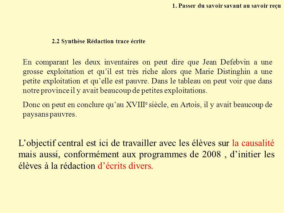 2.2 Synthèse Rédaction trace écrite En comparant les deux inventaires on peut dire que Jean Defebvin a une grosse exploitation et quil est très riche