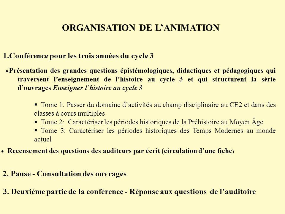 ORGANISATION DE LANIMATION 1.Conférence pour les trois années du cycle 3 Présentation des grandes questions épistémologiques, didactiques et pédagogiq