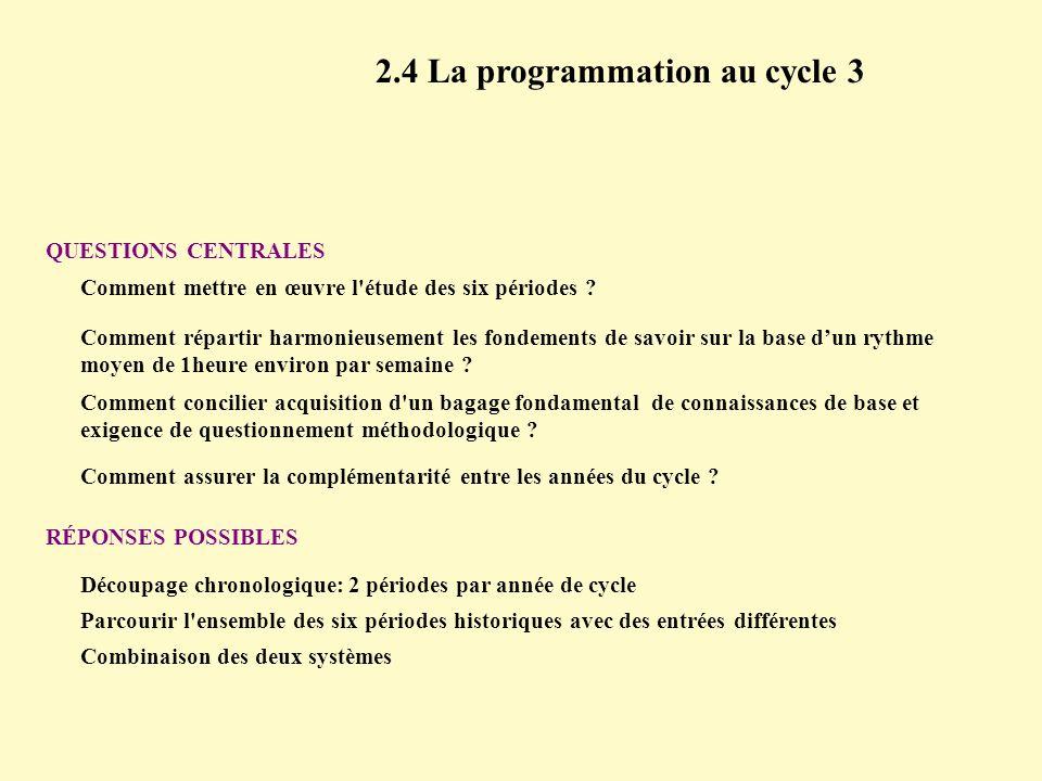 2.4 La programmation au cycle 3 QUESTIONS CENTRALES Comment répartir harmonieusement les fondements de savoir sur la base dun rythme moyen de 1heure e