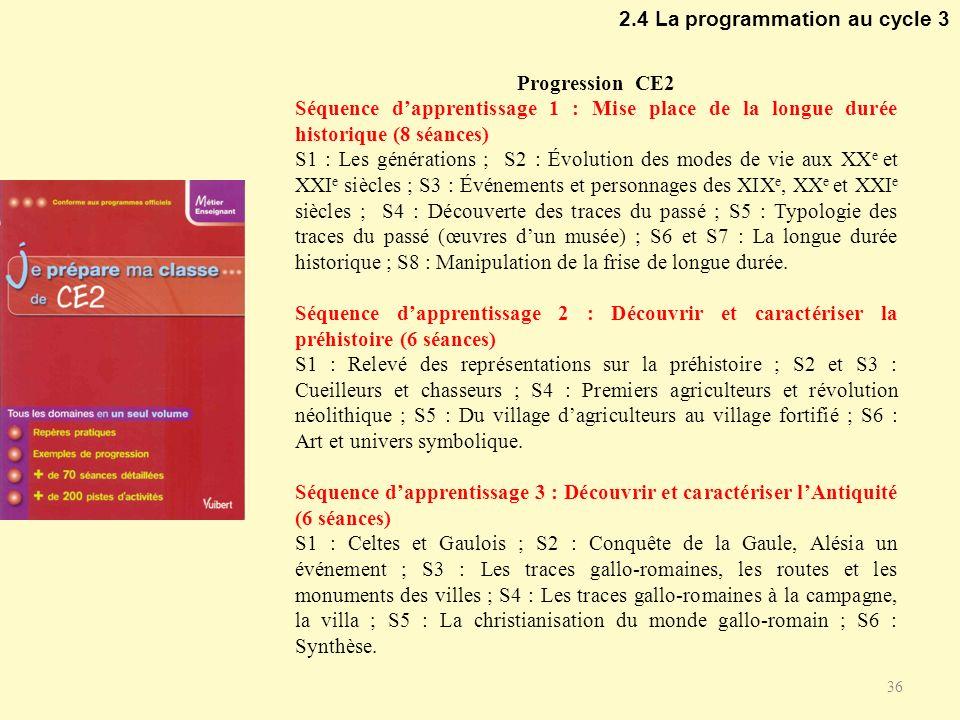 2.4 La programmation au cycle 3 36 Progression CE2 Séquence dapprentissage 1 : Mise place de la longue durée historique (8 séances) S1 : Les génératio
