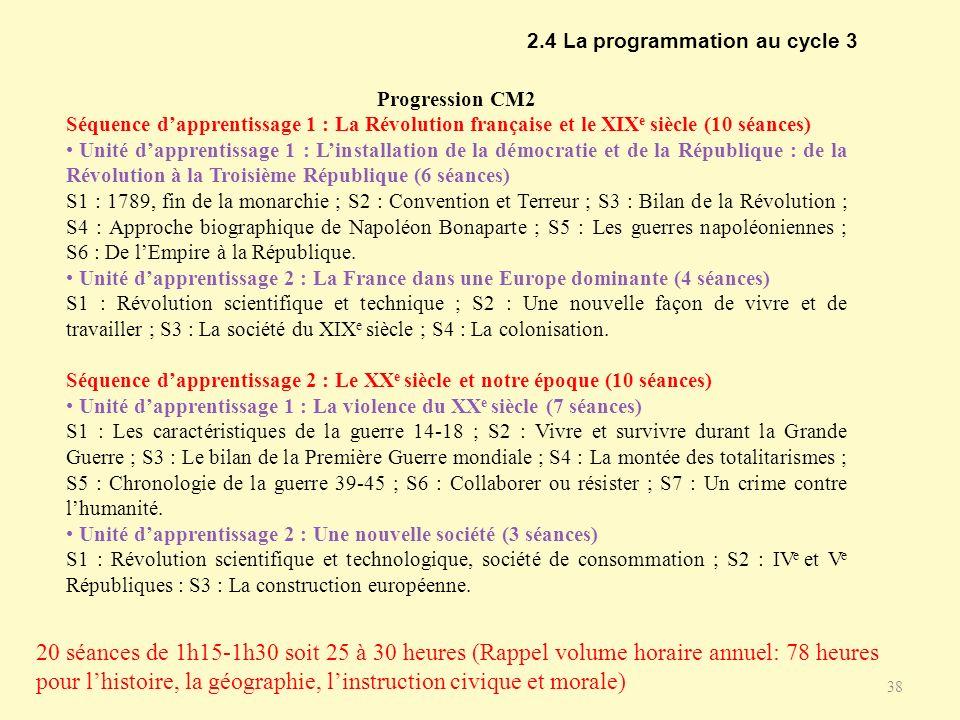 2.4 La programmation au cycle 3 38 Progression CM2 Séquence dapprentissage 1 : La Révolution française et le XIX e siècle (10 séances) Unité dapprenti