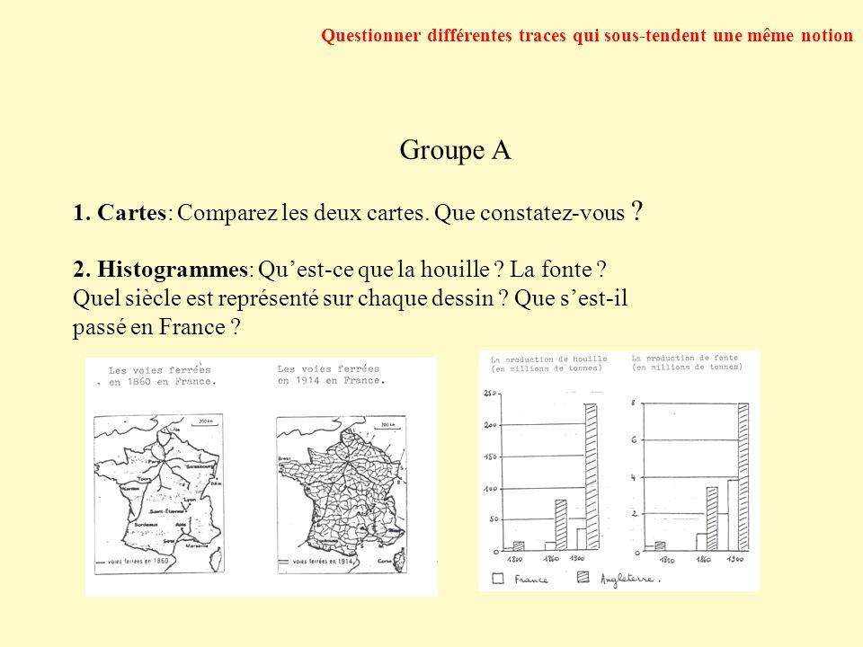 Questionner différentes traces qui sous-tendent une même notion Groupe A 1. Cartes: Comparez les deux cartes. Que constatez-vous ? 2. Histogrammes: Qu