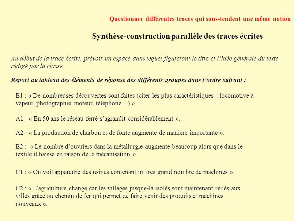 Synthèse-construction parallèle des traces écrites Questionner différentes traces qui sous-tendent une même notion Au début de la trace écrite, prévoi