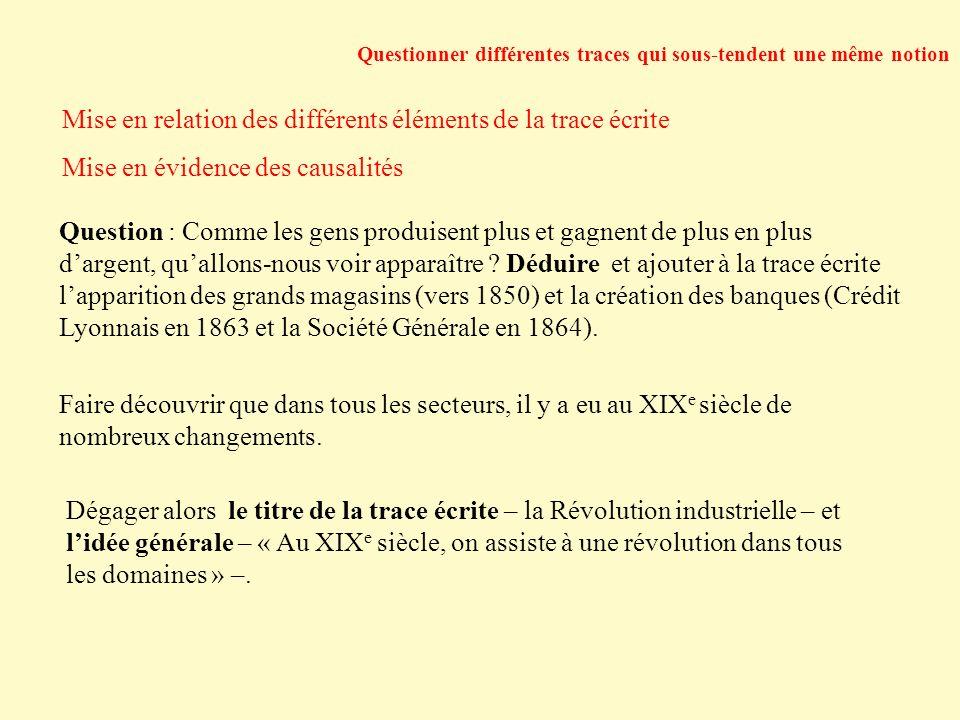 Questionner différentes traces qui sous-tendent une même notion Mise en relation des différents éléments de la trace écrite Mise en évidence des causa