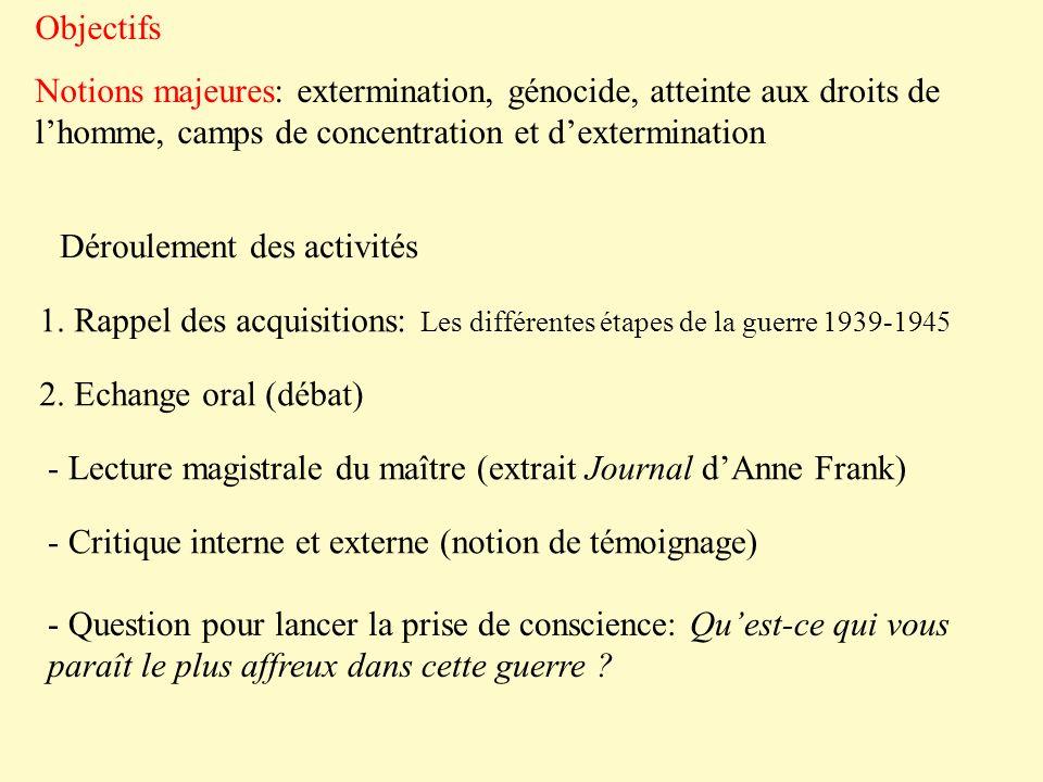 Objectifs Notions majeures: extermination, génocide, atteinte aux droits de lhomme, camps de concentration et dextermination Déroulement des activités