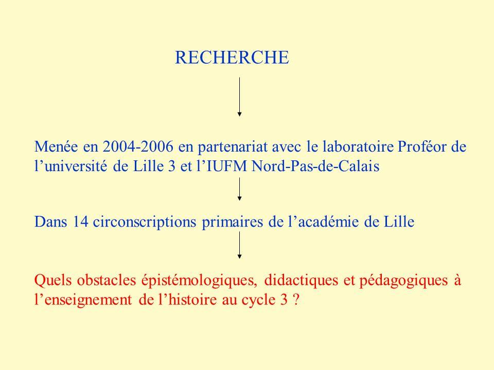 Menée en 2004-2006 en partenariat avec le laboratoire Proféor de luniversité de Lille 3 et lIUFM Nord-Pas-de-Calais Quels obstacles épistémologiques,