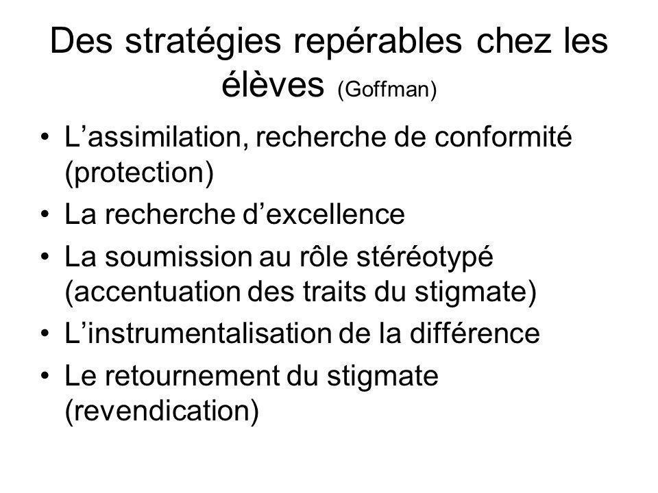 Des stratégies repérables chez les élèves (Goffman) Lassimilation, recherche de conformité (protection) La recherche dexcellence La soumission au rôle