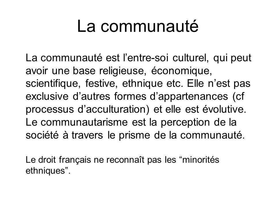 La communauté La communauté est lentre-soi culturel, qui peut avoir une base religieuse, économique, scientifique, festive, ethnique etc. Elle nest pa