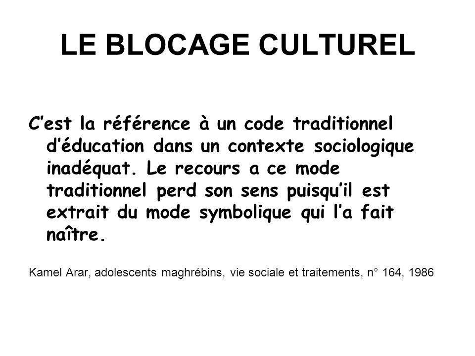 LE BLOCAGE CULTUREL Cest la référence à un code traditionnel déducation dans un contexte sociologique inadéquat. Le recours a ce mode traditionnel per