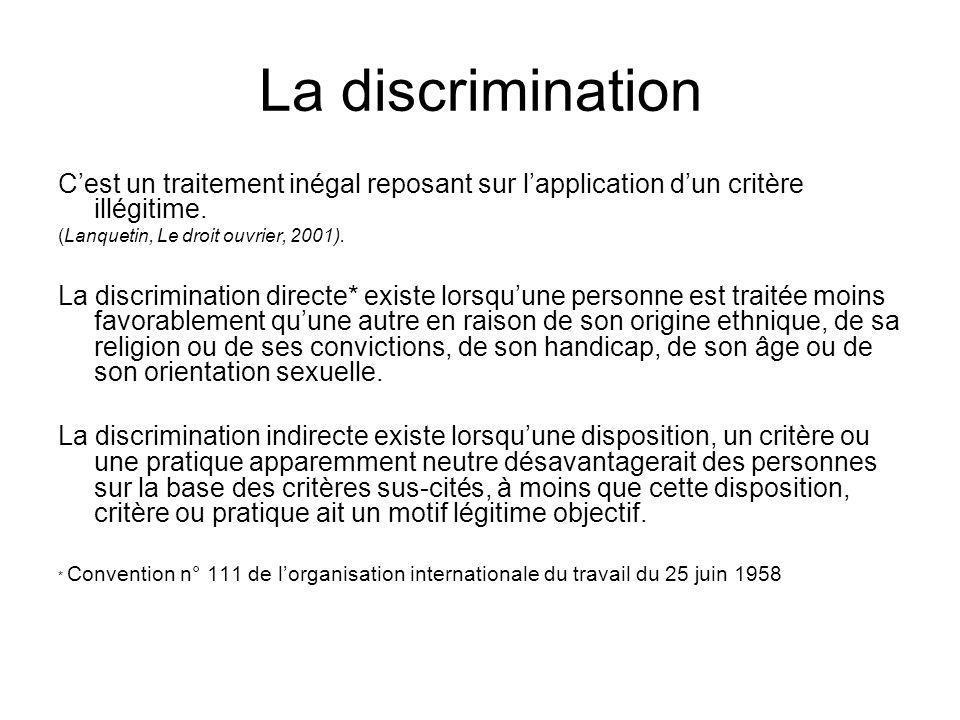 La discrimination Cest un traitement inégal reposant sur lapplication dun critère illégitime. (Lanquetin, Le droit ouvrier, 2001). La discrimination d