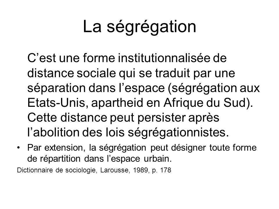 La ségrégation Cest une forme institutionnalisée de distance sociale qui se traduit par une séparation dans lespace (ségrégation aux Etats-Unis, apart